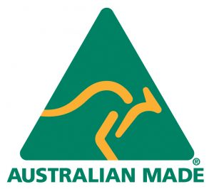 Australian Made logo, green triangle with an orange kangaroo inside it