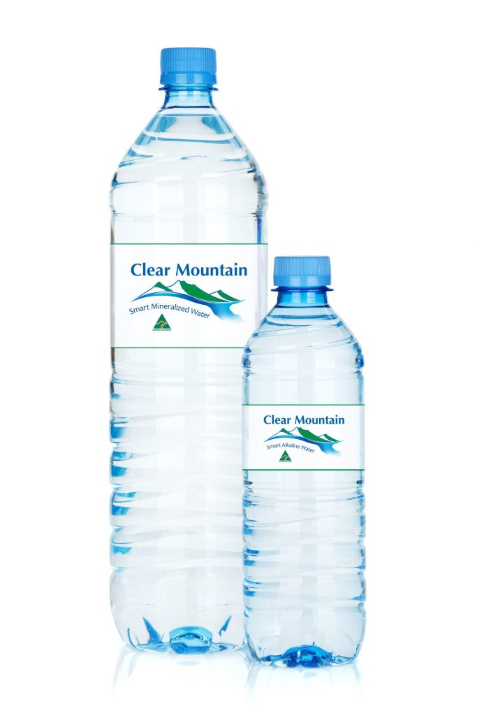 a large bottle of Clear Mountain water next to a small bottle of Clear Mountain water